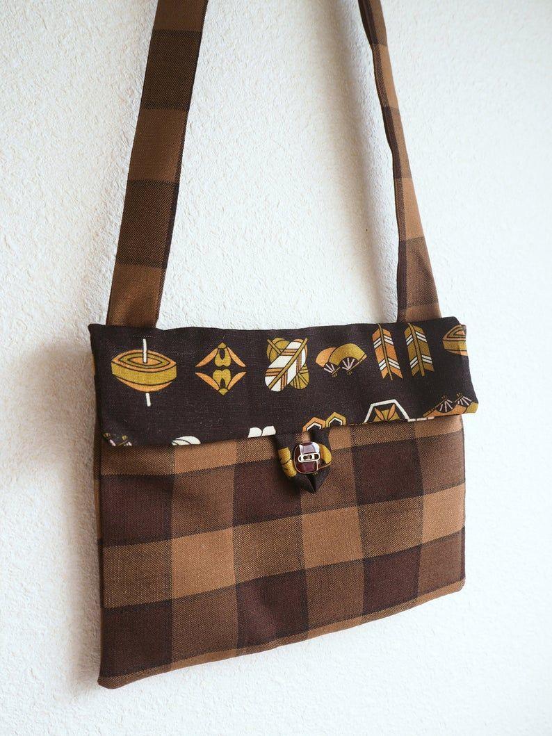 Vintage Japanese Kimono Remake Crossbody Bag Up Cycled Fabric Vintage Japanese Kimono Crossbody Bag Bags