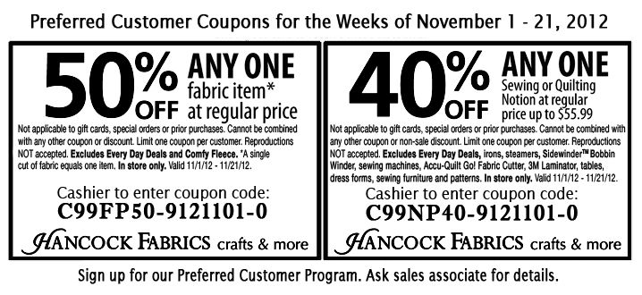 Printable coupon if you buy your fabric this month! Free
