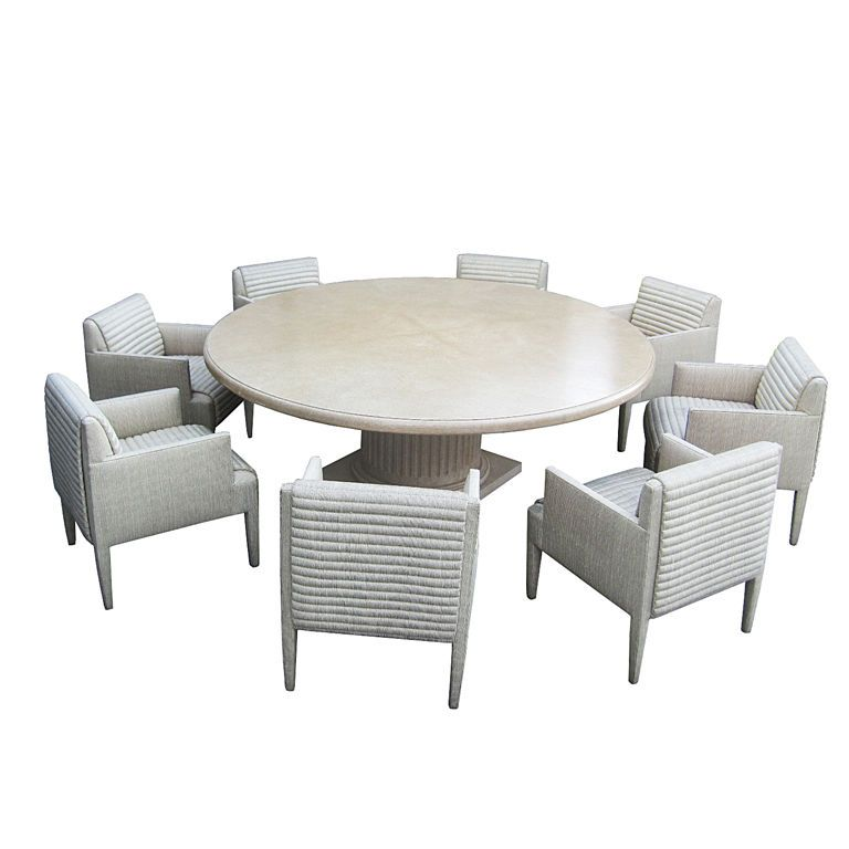 Custom Round Conference Table And Arm Chairs By Donghia - Round conference table for 8
