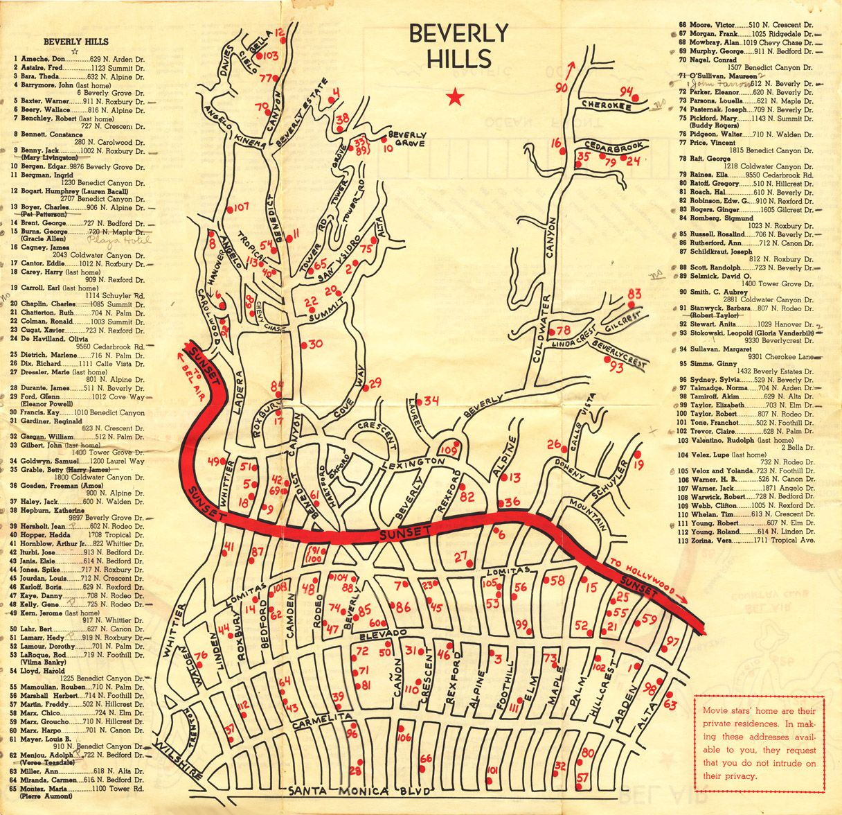 Beverly Hills Star Map Beverly Hills Stars Homes Map