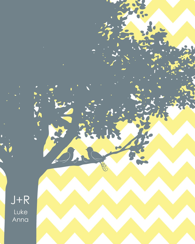 Family Tree Chevron yellow grey nursery wedding love birds initials personalized  colors 11x14. $24.00, via Etsy.
