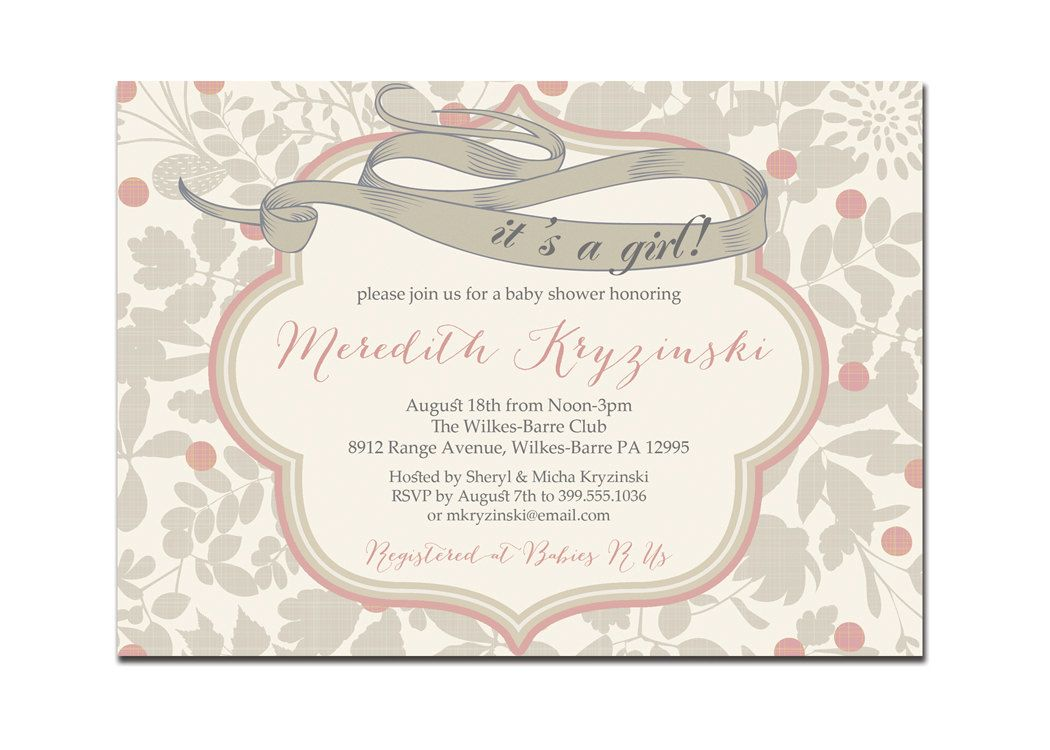 Its A Girl Baby Shower Invitation Vintage Gray & Pink Baby Girl ...