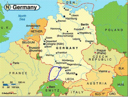 Map Of Germany Mountains.German Mountain Ranges Map Left Of Germany With Black Forest