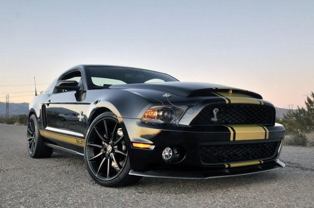 Shelby Cobra Black With Yellow Racing Stripes Shelby Gt500 Super