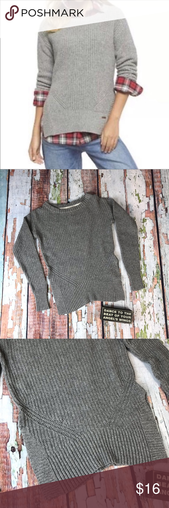 Toms For Target Gray Ribbed Knit Sweater In Good Condition Comes From A Smoke Free Pet Friendly Home Medium Color There Are Slots On Either Side