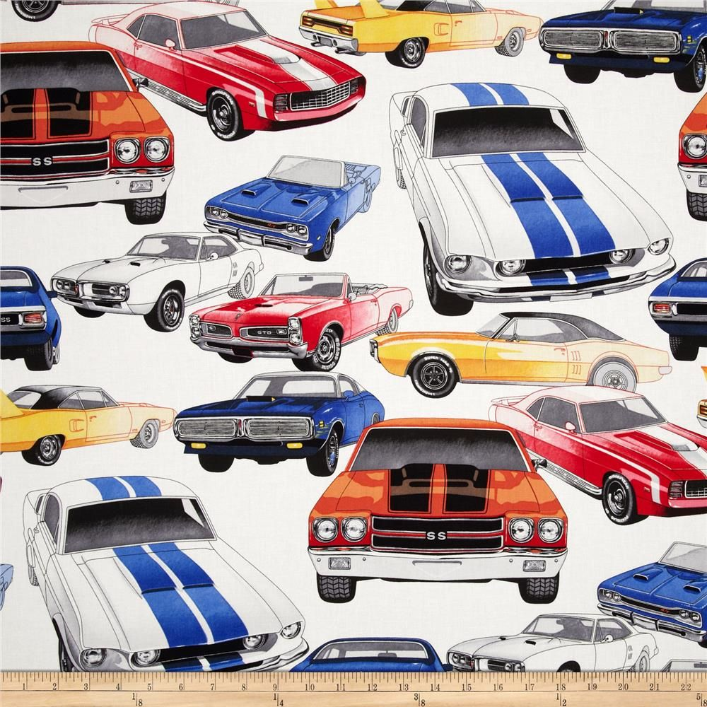 Nicole S Prints Pure Muscle Cars Natural From Fabricdotcom Designed
