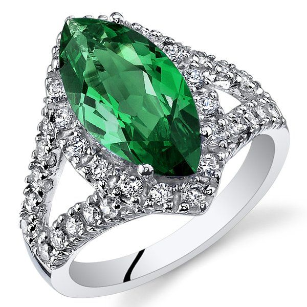 3.00 Carats Marquise Cut Simulated Emerald Ring Sterling Silver Size 9