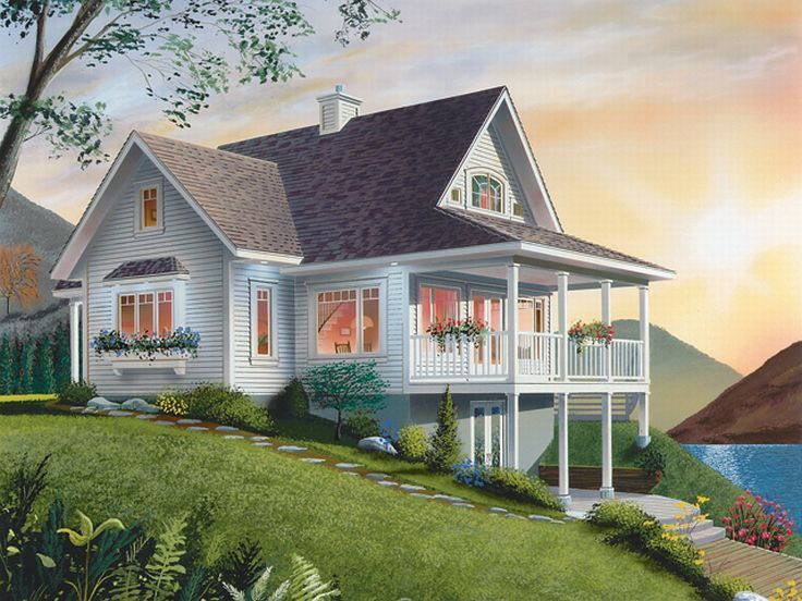 Left Rear View 027h 0073 Lake House Plans Country House Plan Drummond House Plans
