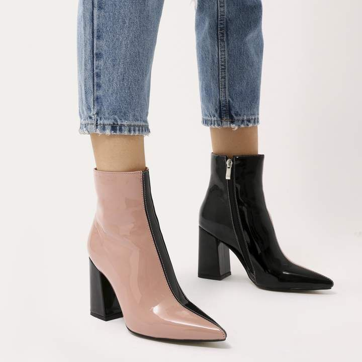 4149be454ba Public Desire Chaos Two-Tone Pointed Toe Ankle Boots in Black and Patent