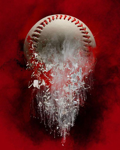 Editing Background Banner: Baseball Layered Shattered Photoshop Background. Perfect