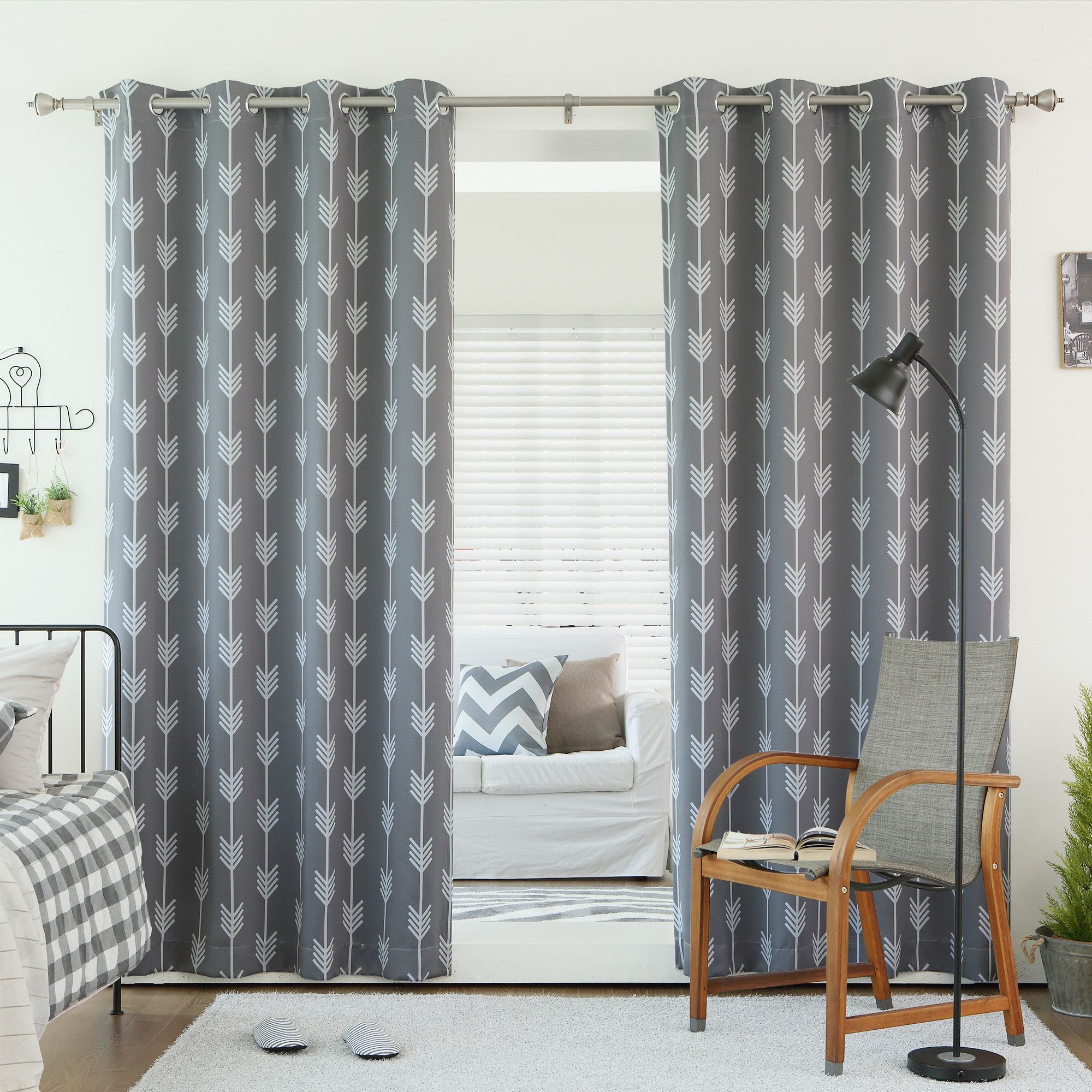fancy plush design moorish tile curtain. Best Home Fashion Grey Arrow Room Darkening Blackout Grommet Top Curtain  1 Pair Curtains your kids will love Choose from our many different fun designs Panels Wayfair decorating