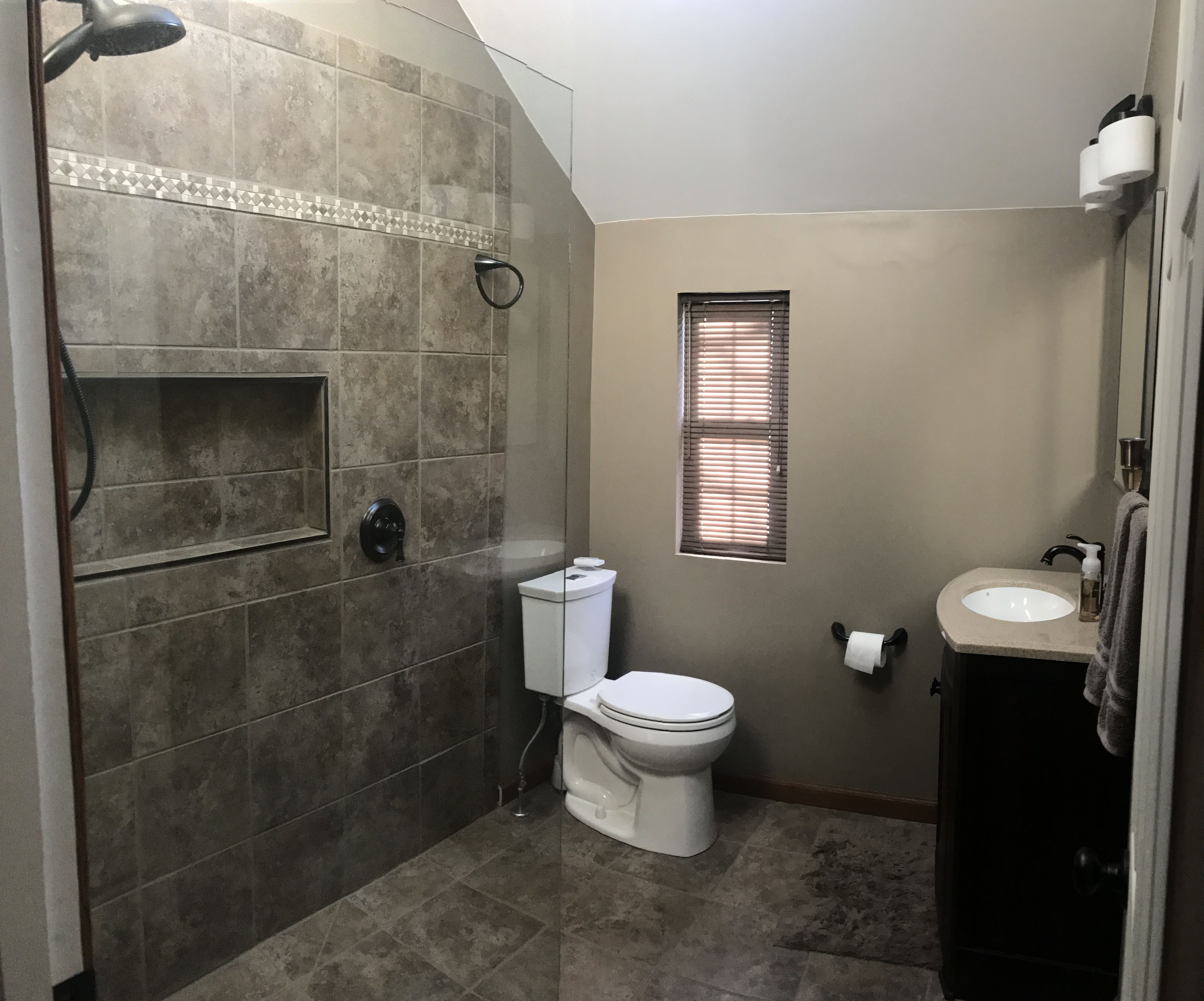 bathroom remodel  small bathroom  neutral bathroom