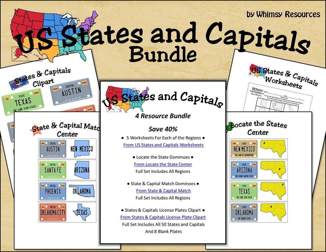 Bundle Of 4 States And Capitals Resources