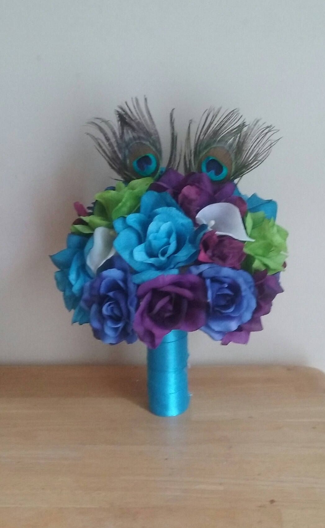 Peacock Wedding Flower Package #weddingflowers #bouquet #peacockwedding #custom #justimaginebyk.com #etsy