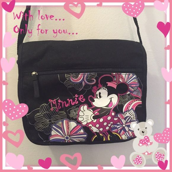 Minnie Bag!! Black Bag with Minnie in Pink. Adjustable straps as seen on pic #3 Disney Bags