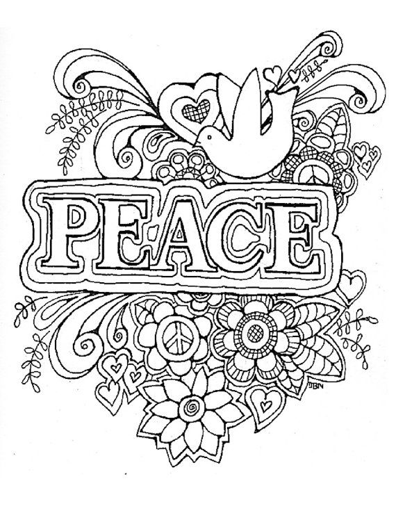 Adult Coloring Page Peace Original Digital Download Coloring Pages Coloring Pages To Print Quote Coloring Pages