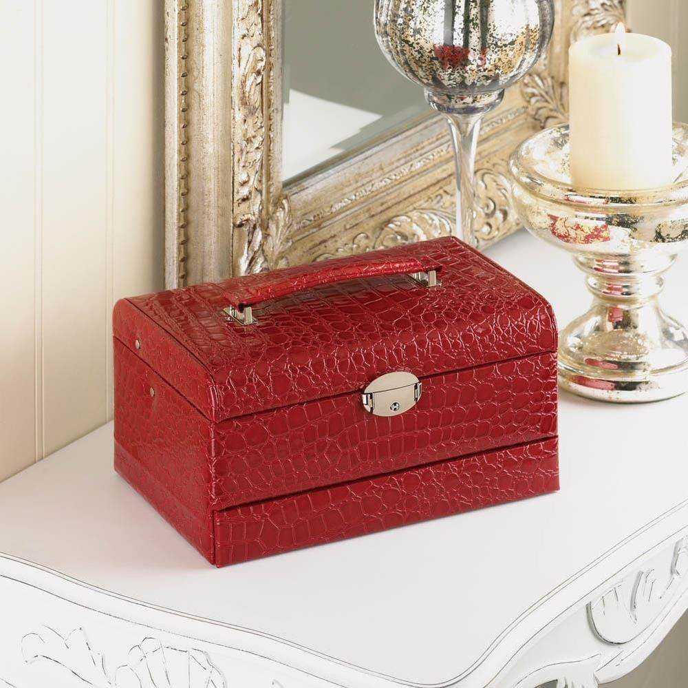 Red Deluxe Jewelry Box with Lock and Key Faux Leather # ...