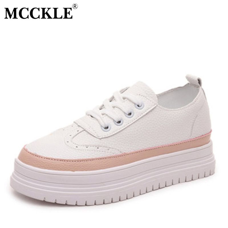 MCCKLE New 2017 Women Fashion Lace-up Walking Shoes Ladies Casual Comfort Flat 2017 Spring Female Flat Platform Shoes