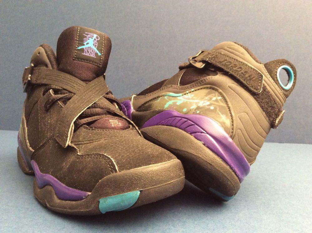 new arrival 828bd 72287 NIKE AIR JORDAN RETRO VIII 8 BLACK PURPLE AQUA  467808-009  Size 5.5Y  Nike   BasketballShoes