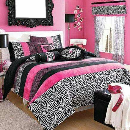 Pink and zebra girls room