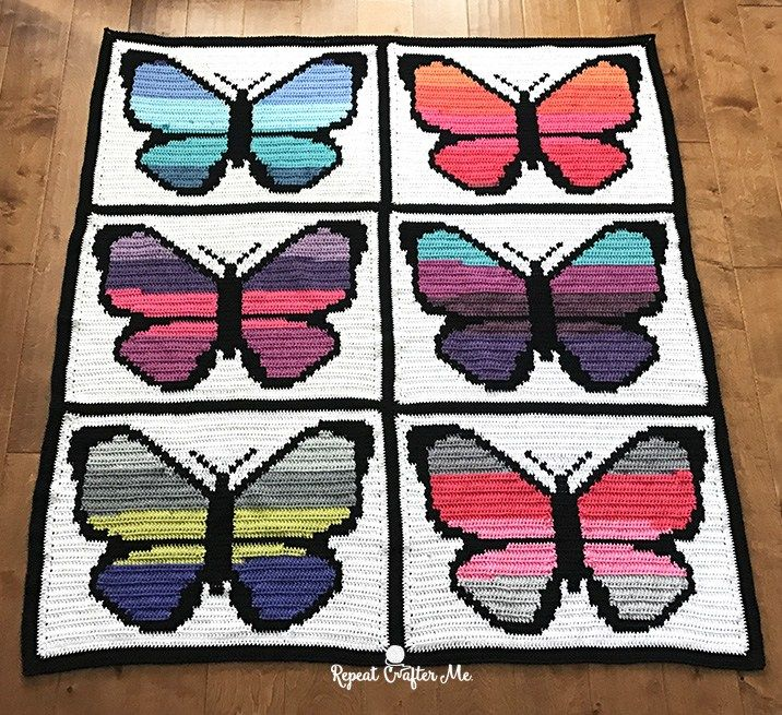 Bernat POP! Butterfly Crochet Graphgan - Part 2 | Colchas y Patrones