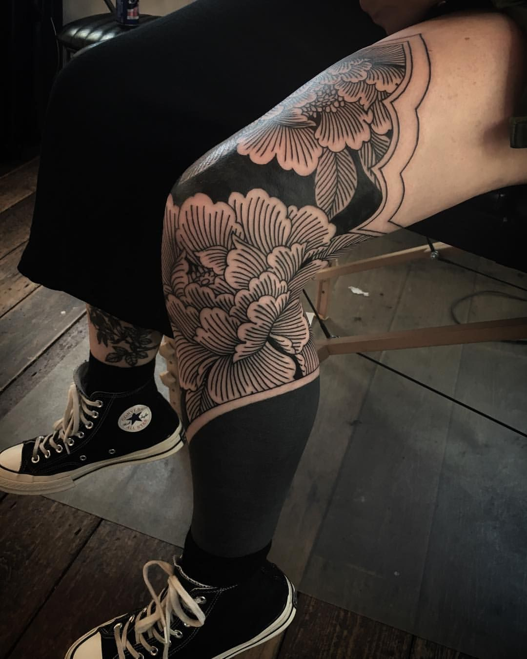 Image result for blackout tattoo thigh