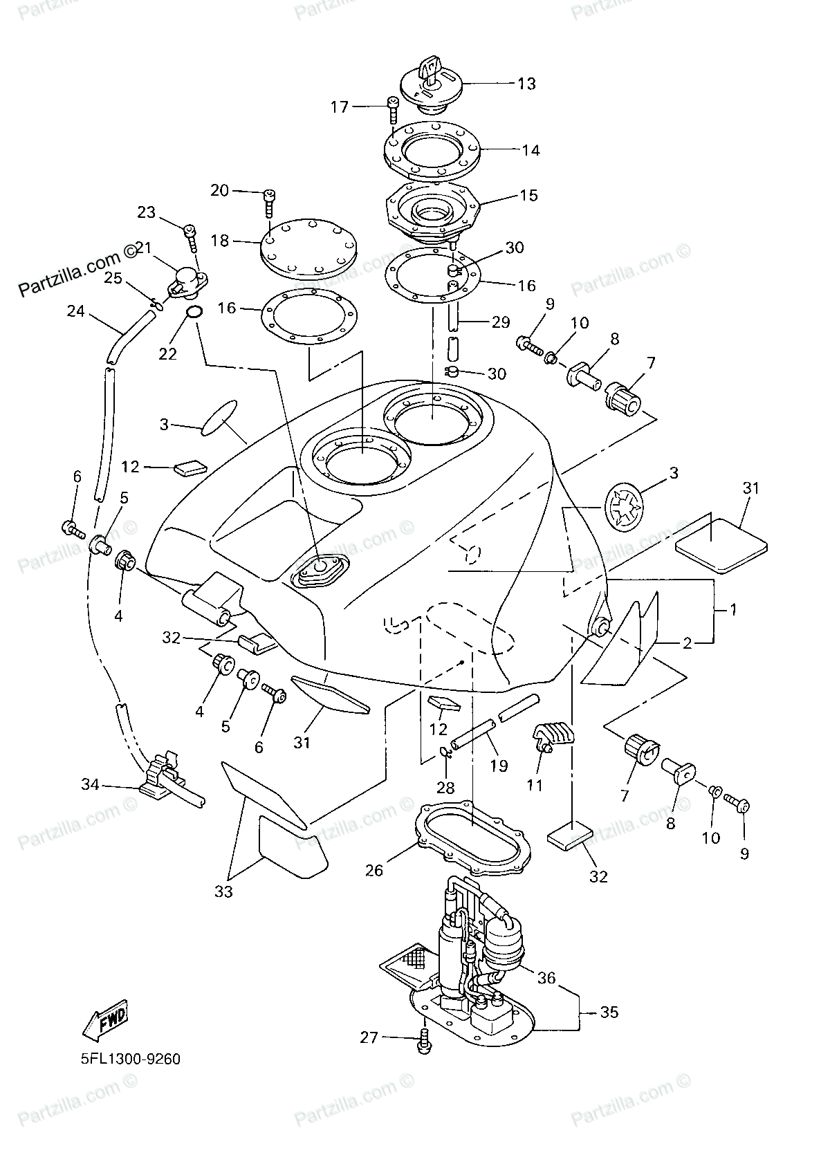 Diagram of Yamaha Motorcycle Parts 1999 YZFR7  YZFR7L