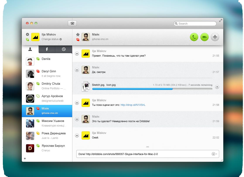 Skype interface 2.0 Interface, Online portfolio, Skype