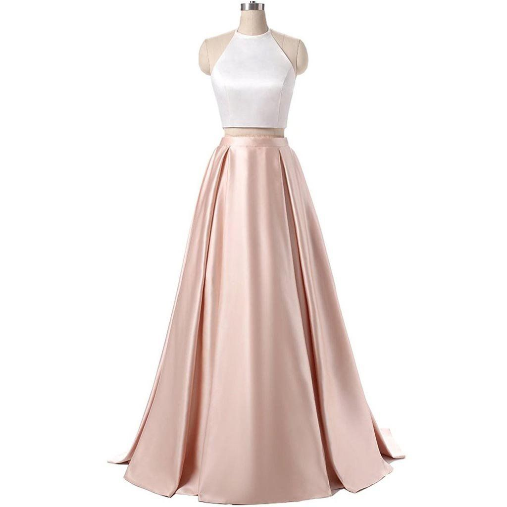 Long Prom Dresses, Satin Prom Dresses, A-Line Party Dresses, Halter ...