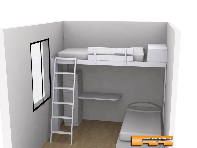 cama alta lacada a medida para habitación infantil compartida con ...