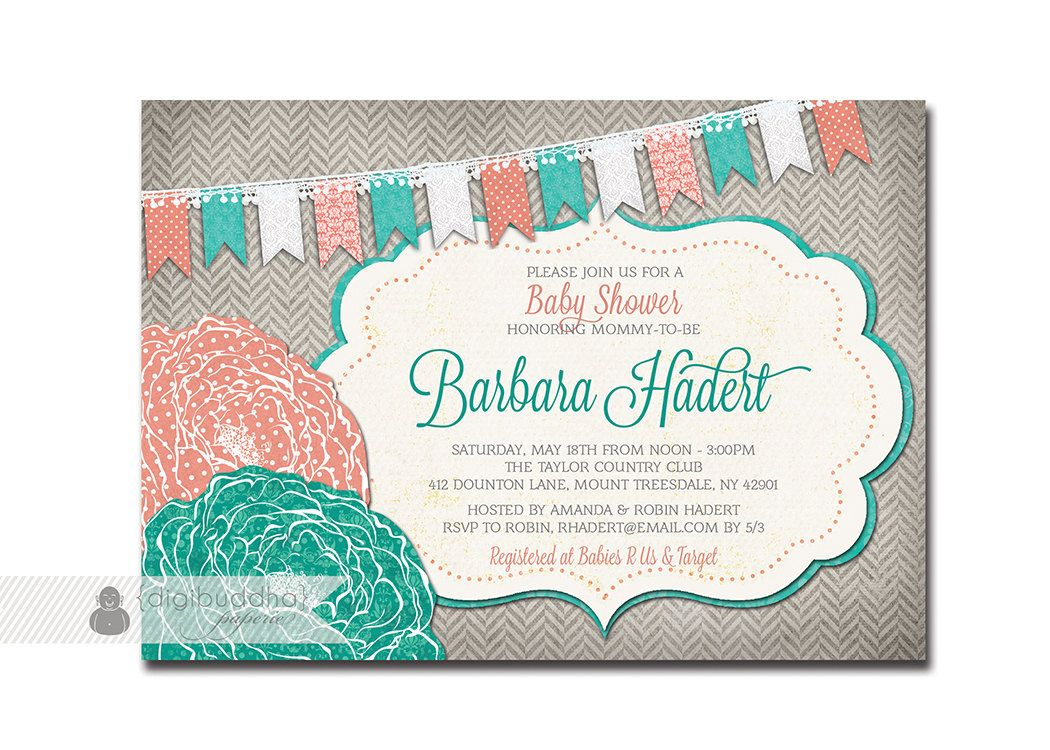 Baby Shower Invitation Coral Turquoise Teal Aqua Gray Flower Bunting