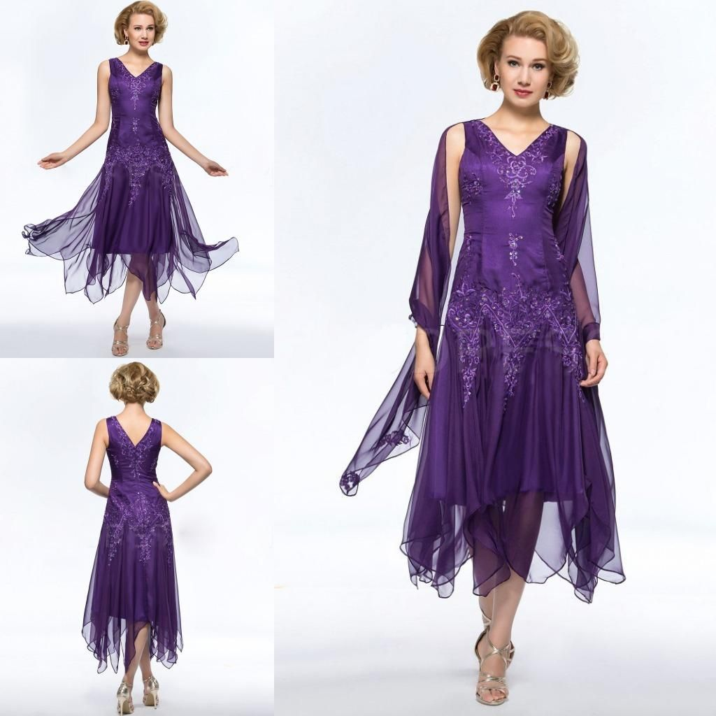 Purple Tea Length Mother Of The Bride Dresses With A Shawl 2015 ...