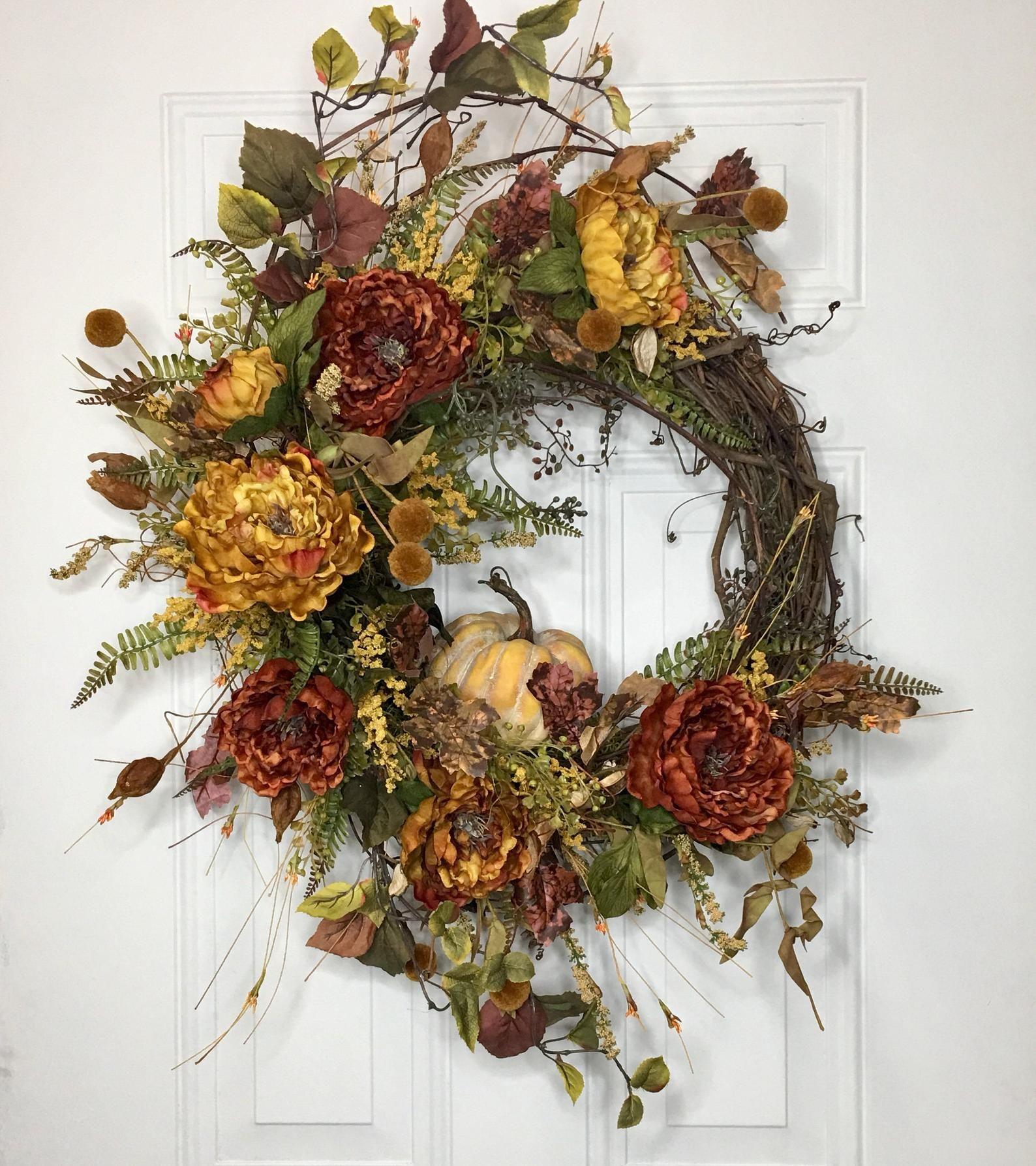 Photo of Fall Pumpkin Wreath, Autumn Wreath, Harvest Wreath, Fall Floral Wreath, Fall Grapevine Wreath