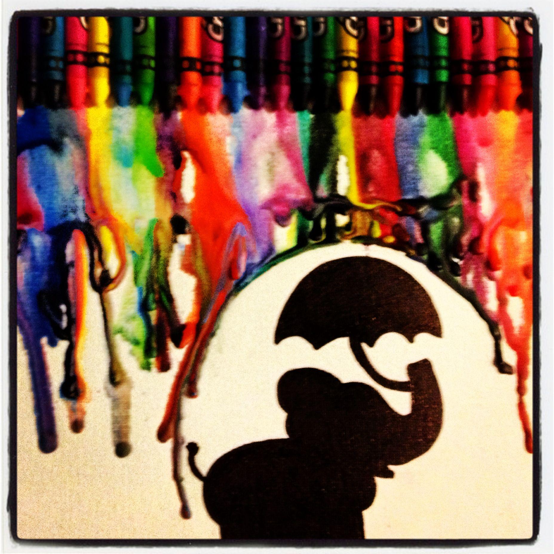 Melted Elephant Crayon Canvas