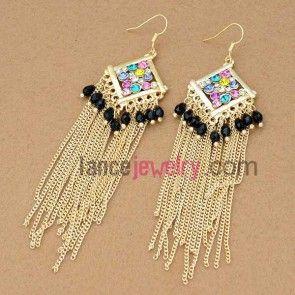 Attractive rhinestone decoration earrings