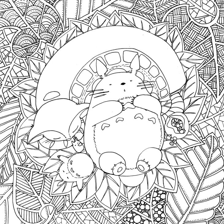 doodles and totoro part 2 - Coloriage Anti Stress Adulte 2