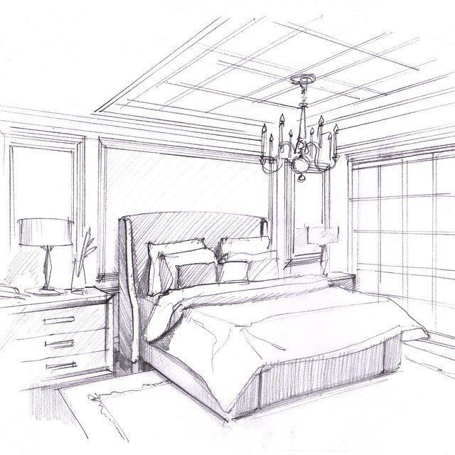 Bedroom One Point Perspective Bedroom Interior Paint Bedroom Chairs With Footstool Bedroom Paint Colours Blue: Drawing Interior, Interior