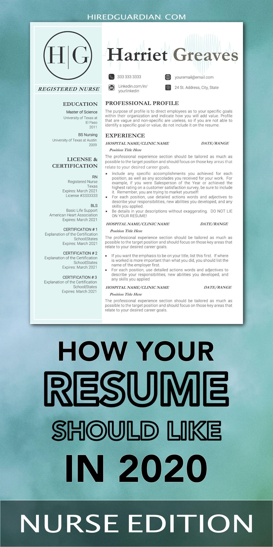Nurse Resume Template Nurse Cv Template For Word Nurse Etsy In 2020 Nursing Resume Template Nursing Resume Cover Letter For Resume