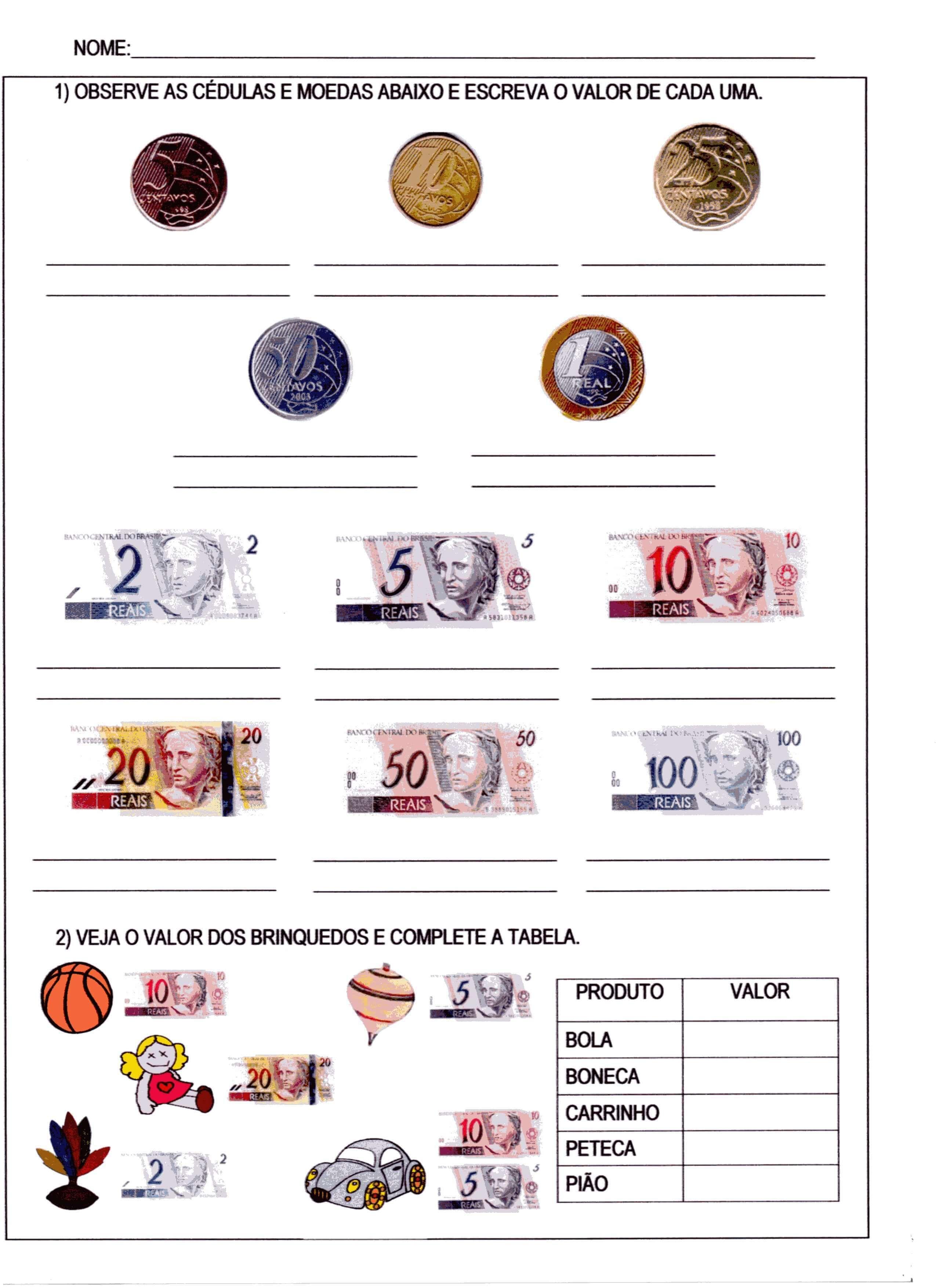 Sistema Monetario Atividades De Dinheiro Atividades De