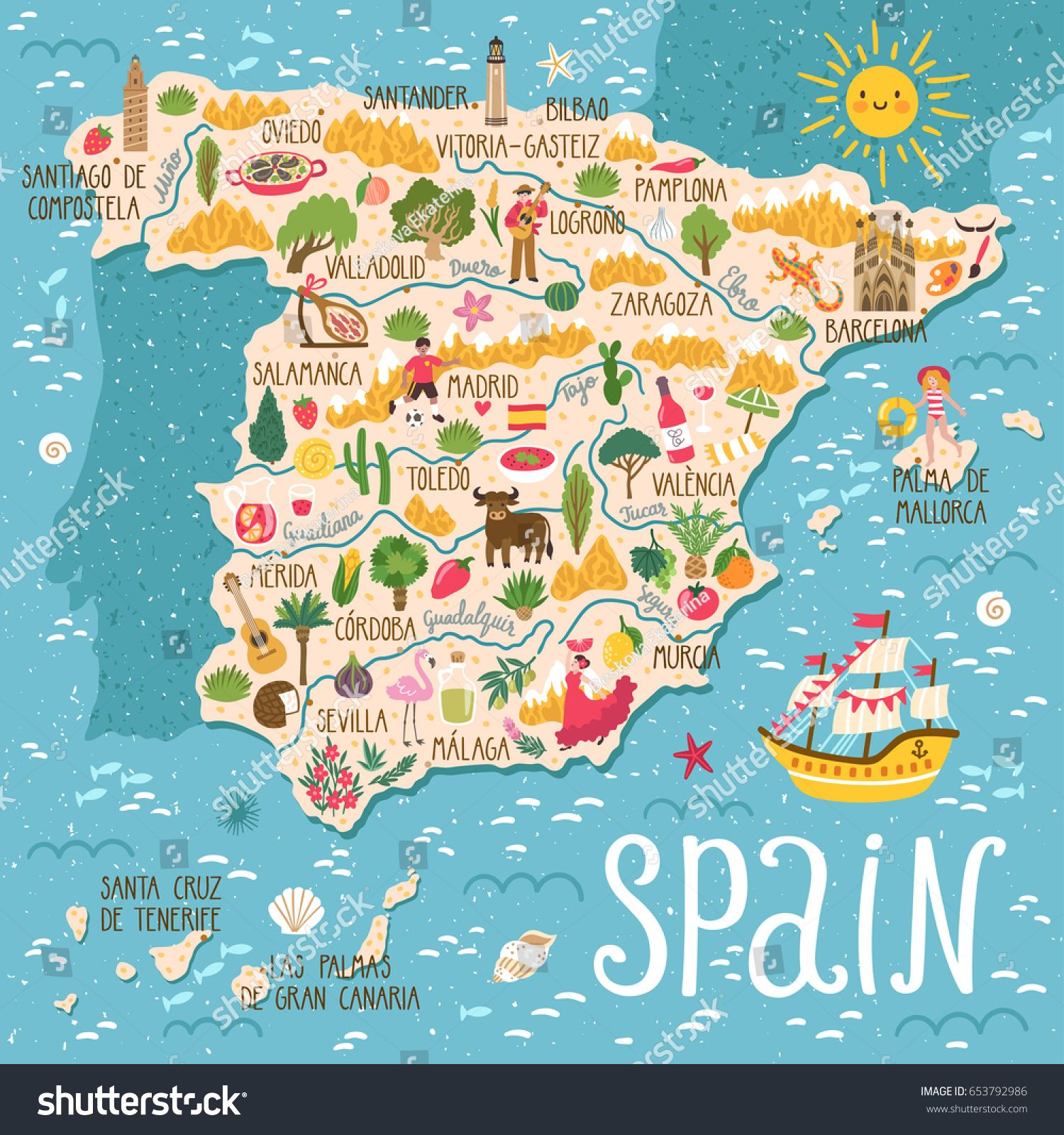 Vector Stylized Map Of Spain Travel Illustration With