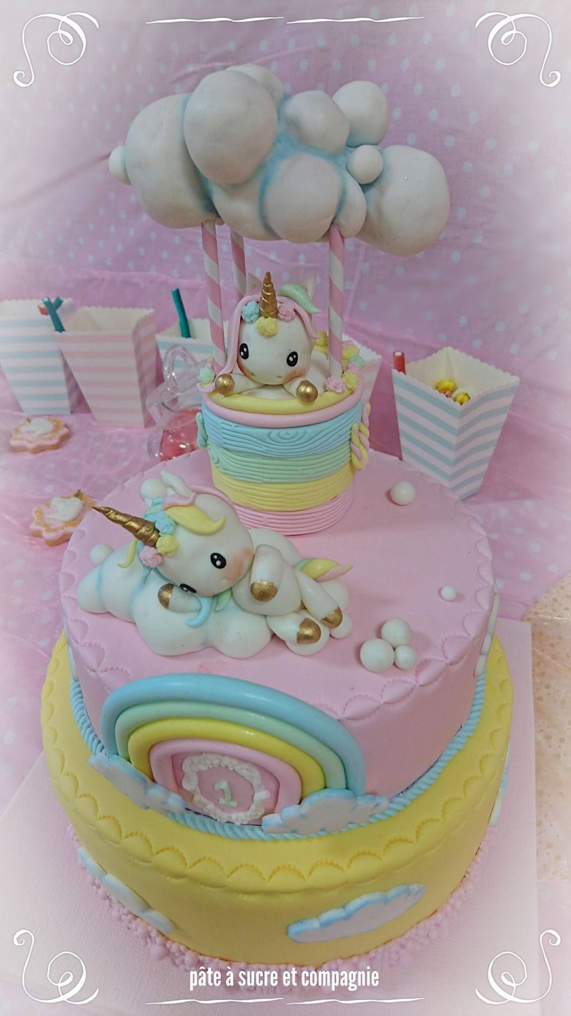 8 comestible glaçage topper Unicorn licorne rond gâteau personnalisé 7.5
