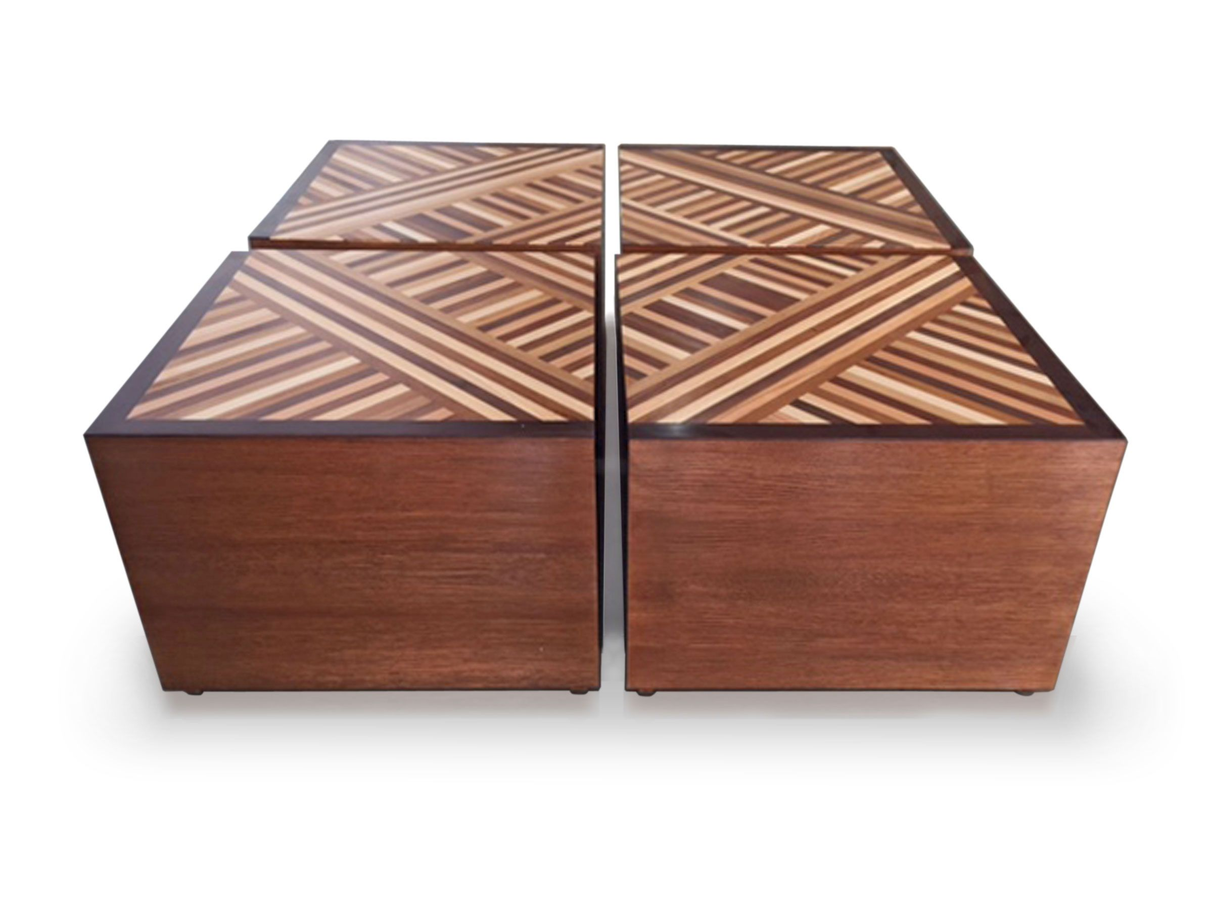HOUSTON COFFEE TABLE Modular Coffee Table Comes In Four Parts. Oak Veneer  With Inlayed Top Featuring Different Timbers.