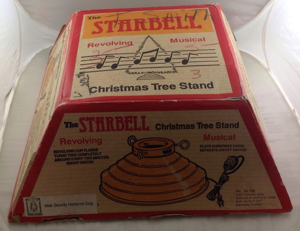 Vintage STARBELL Christmas Tree Stand Musical Rotating