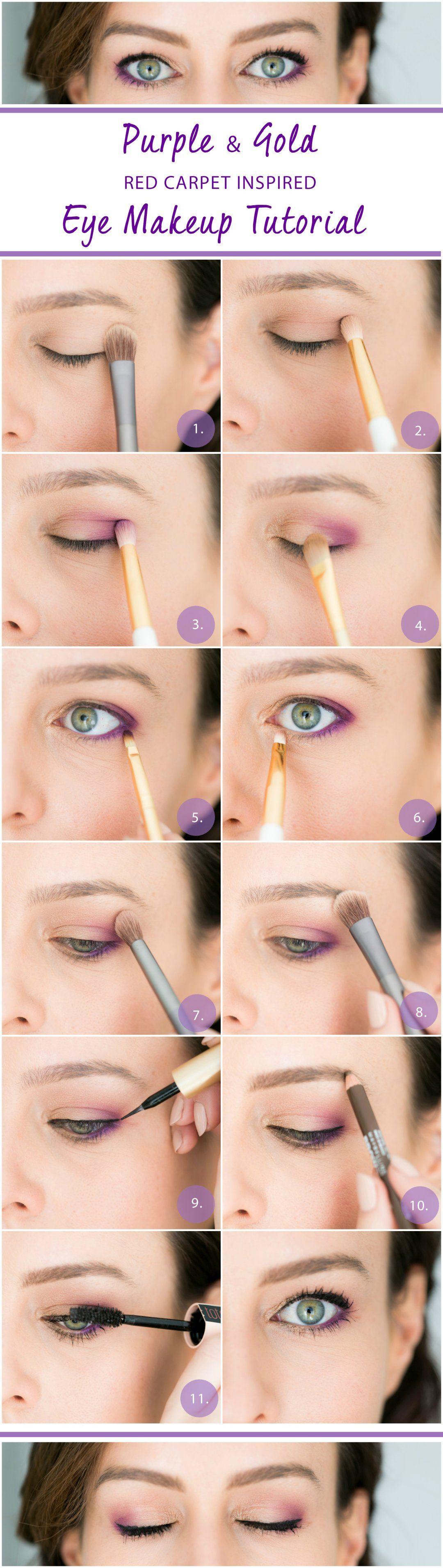 Gold Purple Eye Tutorial How To Get Red Carpet Eyes Purple Eye Makeup Trendy Eyeshadow Purple Eyeliner