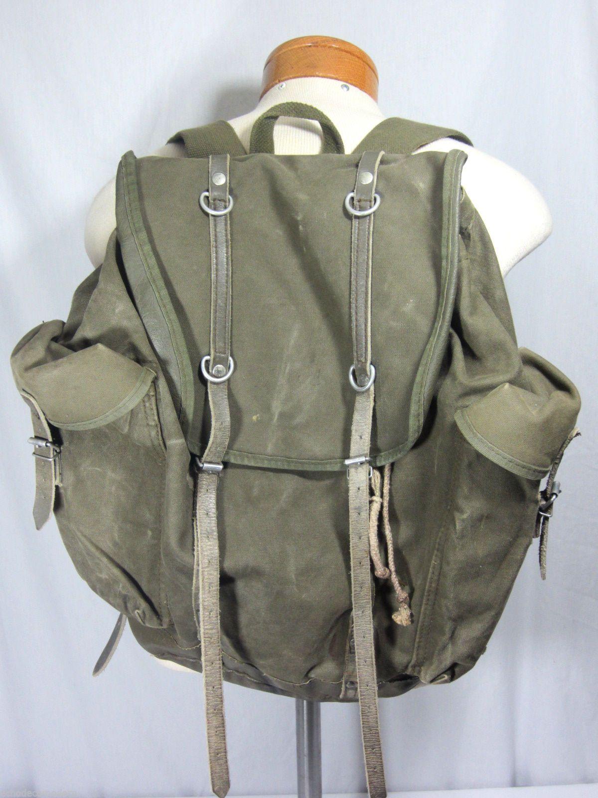 vintage deuter military backpack rucksack army green. Black Bedroom Furniture Sets. Home Design Ideas