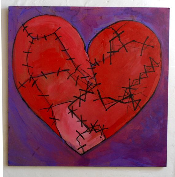 Heart Broken Broken Heart Red Stitched Sewn By Paintedvalentineart