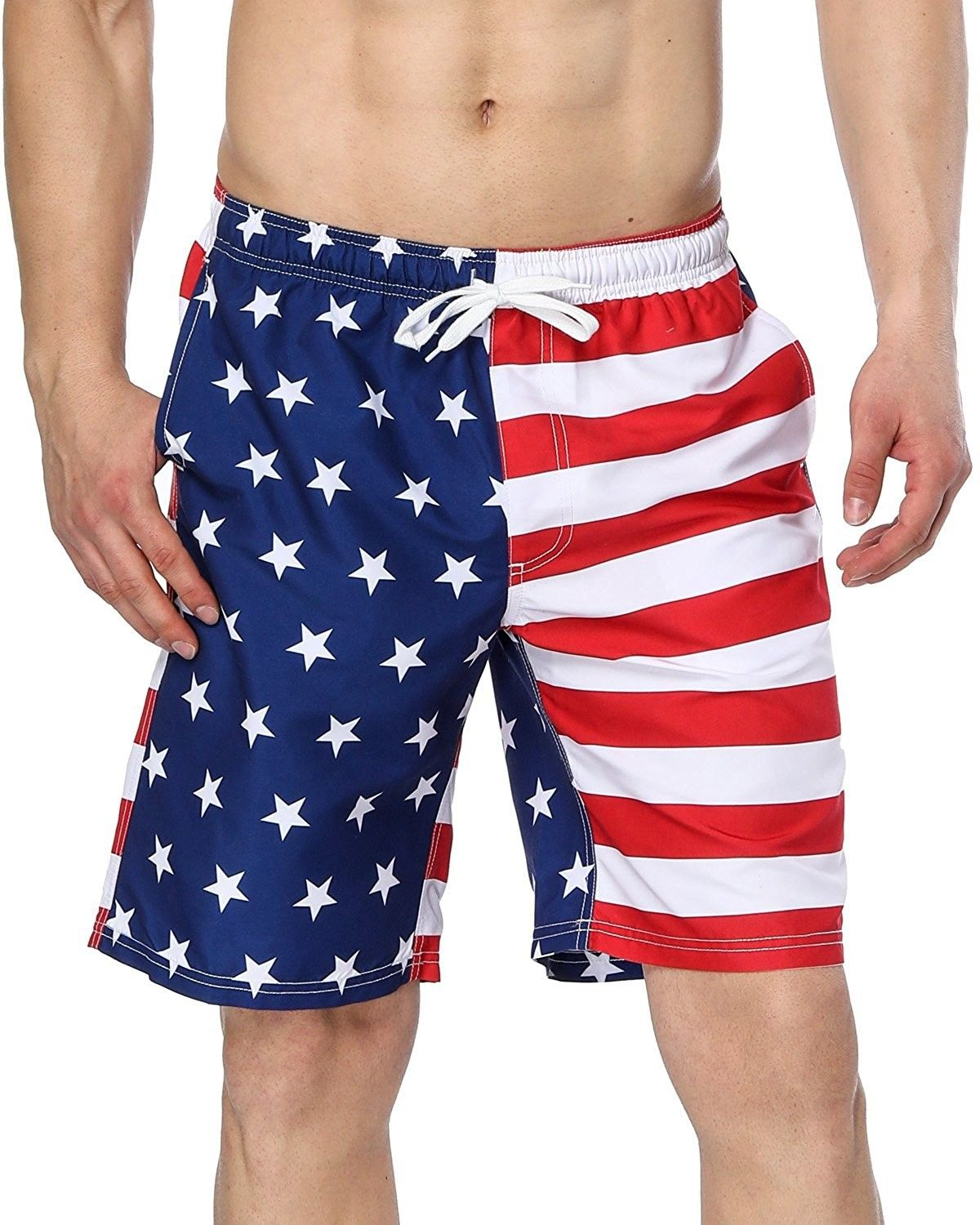 49934edf4 Men's American Flag Swim Trunks US Flag Bathing Suit Board Swim ...