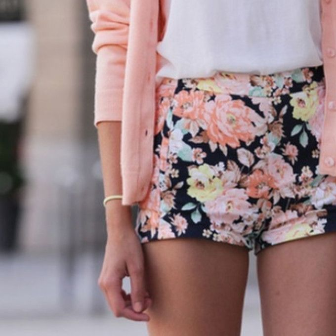sweater shorts floral shorts cardigan jacket summer flower print ...