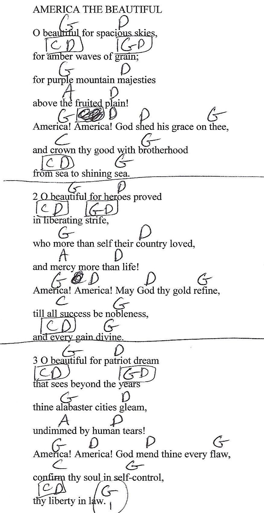 America The Beautiful Guitar Lesson Chord Chart With Lyrics