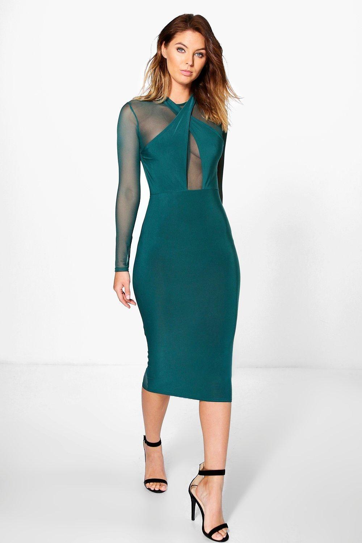 Karlie Mesh Slinky Wrap Bodycon Dress   Bodycon style, Boohoo and Formal